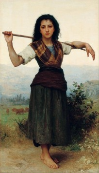 Young peasant woman in tartam William Bouguereau