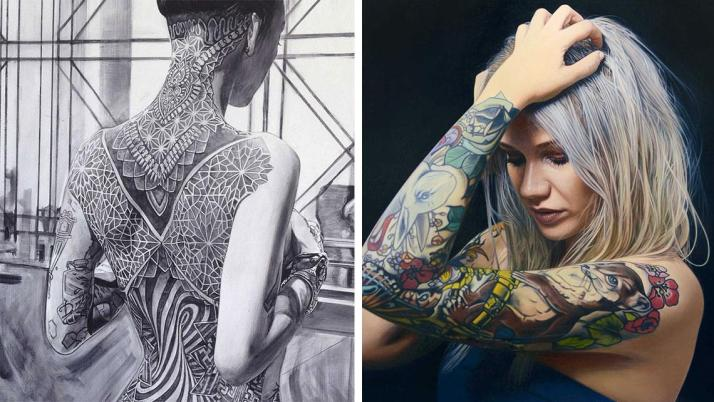 Quietly-Sensual-Paintings-Of-Women-With-Unique-Tattoo-Designs